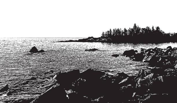 Lake Superior shoreline at sunrise Silhouette mezzotint of Lake Superior shoreline at sunrise lakeshore stock illustrations