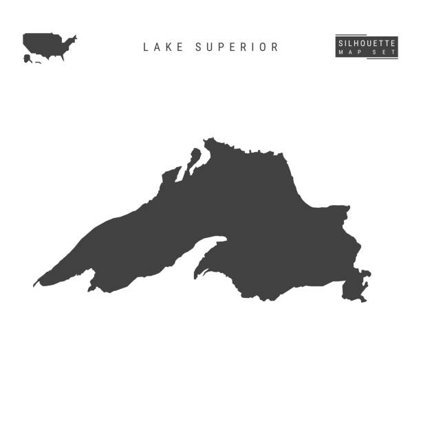lake superior vector map isolated on white background. high-detailed black silhouette map of lake superior - lake superior stock illustrations, clip art, cartoons, & icons