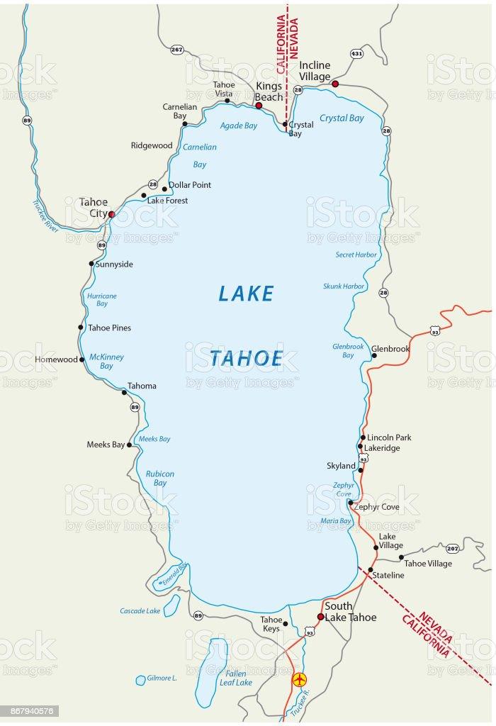 Lake Tahoe Map Stock Vector Art & More Images of California ...