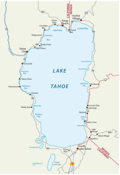 Royalty Free North Lake Tahoe Clip Art Vector Images - North lake tahoe map