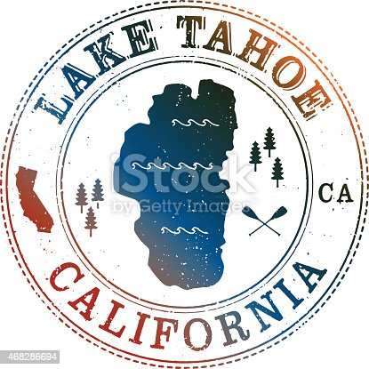 Lake Tahoe Retro Stamp with vintage look