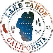 Lake Tahoe Retro Stamp with vintage look