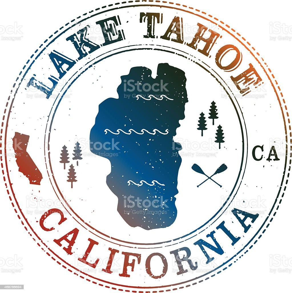Lake Tahoe Retro Stamp vector art illustration