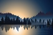lake view and pine wood when sunrise