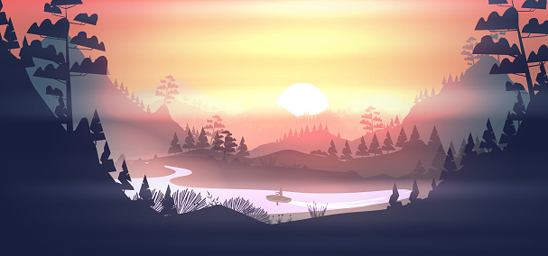 Lake with boat in a pine forest, and mountains at sunset