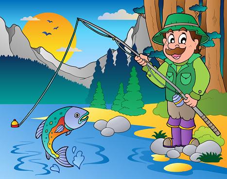 Lake with cartoon fisherman 1