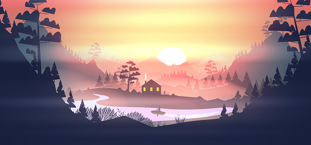 Lake with House in a pine forest, and mountains at sunset
