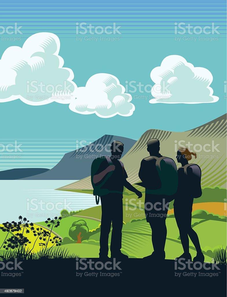 Lakeland scene - portrait vector art illustration