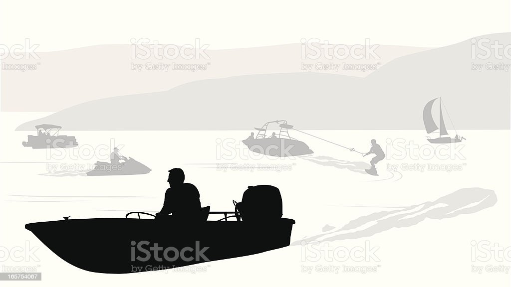 Lake'n Boating Vector Silhouette royalty-free stock vector art
