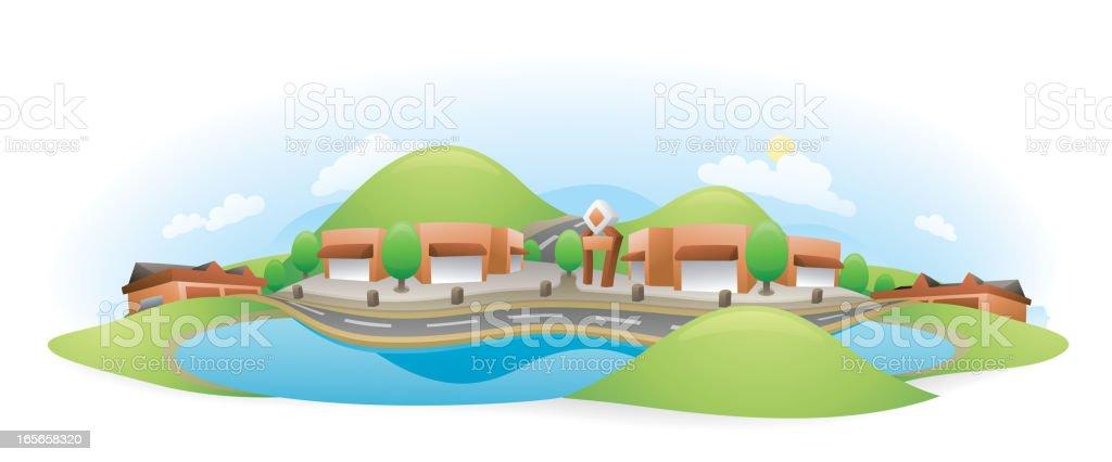 Lakeside Drive Mall Landscape royalty-free stock vector art