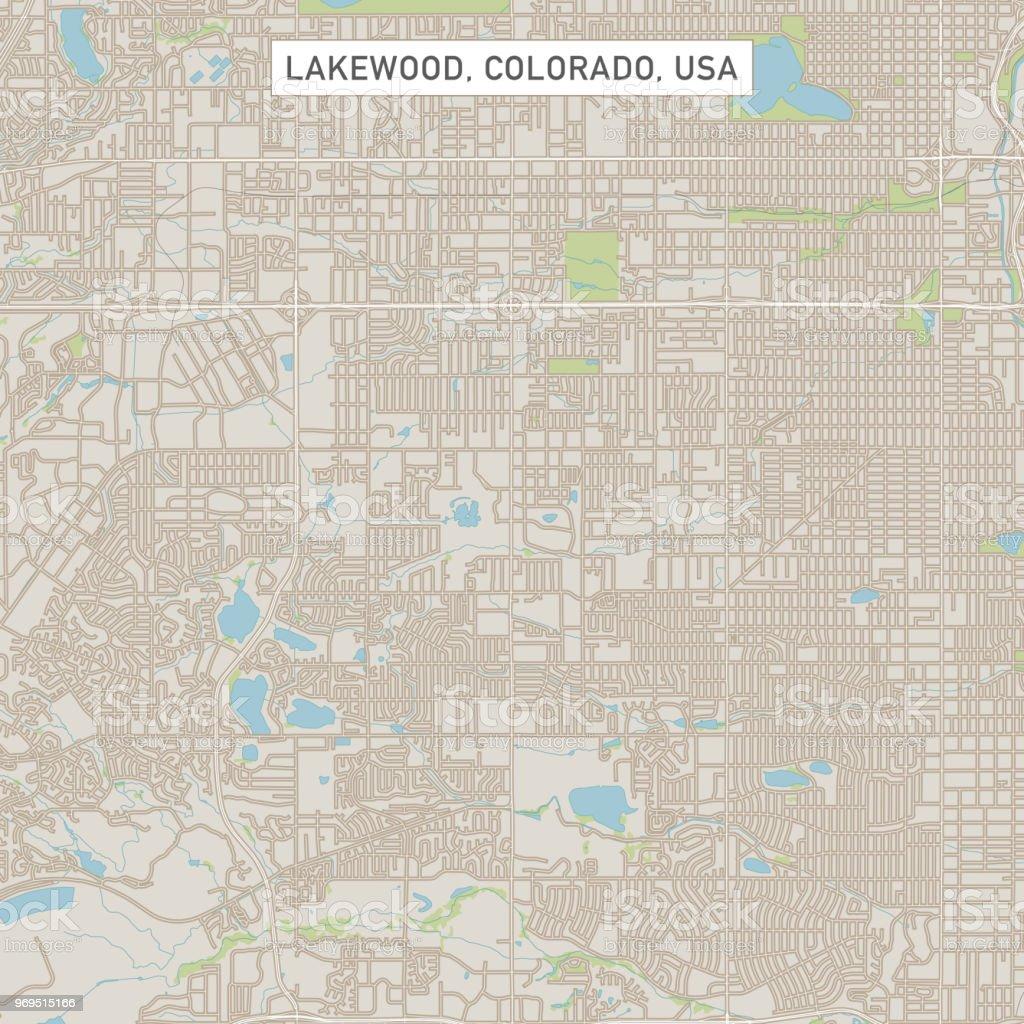 Lakewood Colorado Us City Street Map Stock Illustration ...