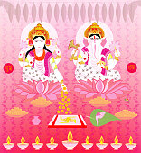 Lakshmi Ganesha, Diwali,card ,All elements are in separate layers color can be changed easily.