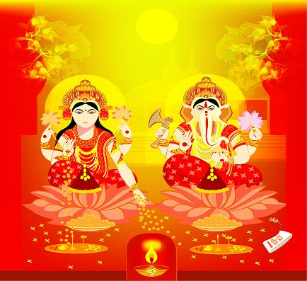 lakshmi, Ganesha , diwali card ,