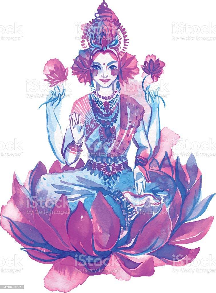 Lakshmi hindu goddess, watercolor illustration. vector art illustration