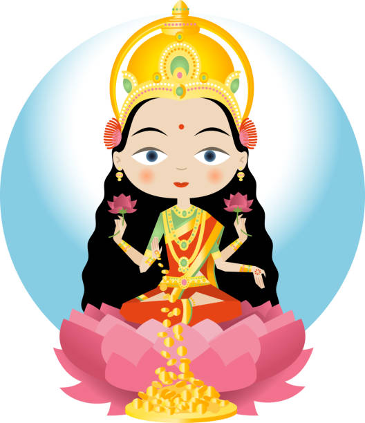 Best Hindu Goddess Lakshmi Illustrations, Royalty-Free ...