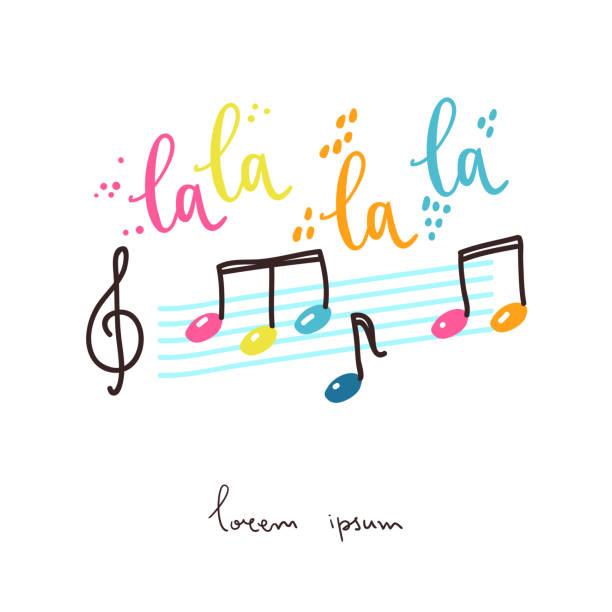 Note musicale lalalala avec clef d'aigus et notes et lettrage. Illustration de griffonnage de vecteur. - Illustration vectorielle