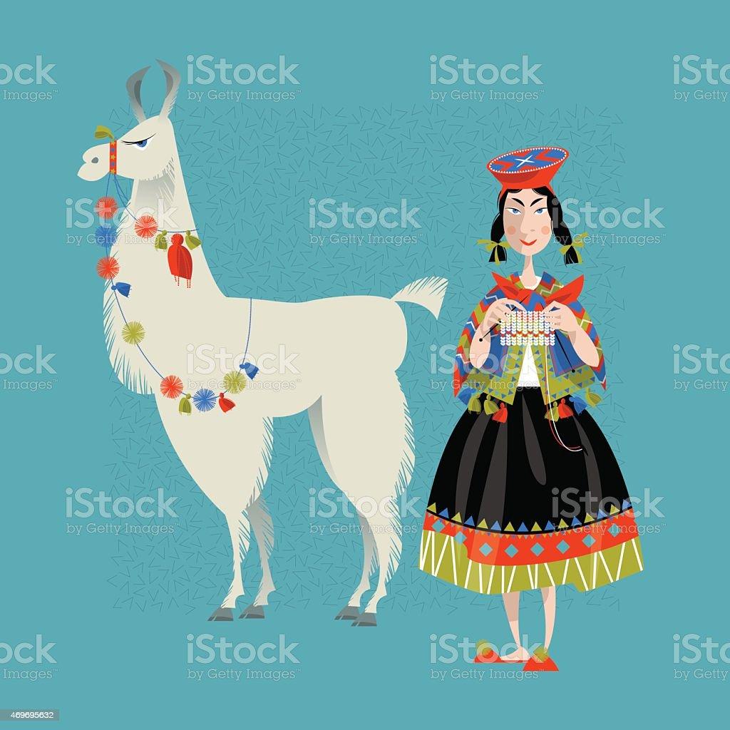 Lama Alpaca y punto peruano mujer. - ilustración de arte vectorial