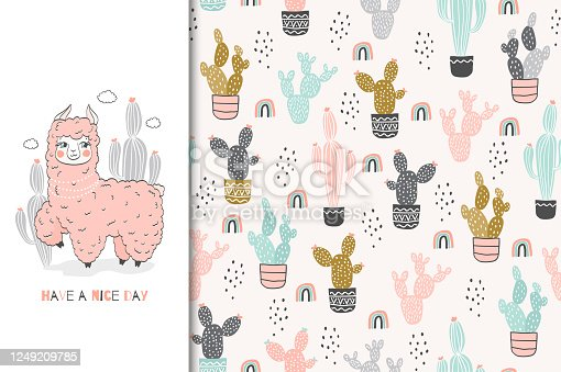 istock Lama baby cute pinky animal character. Kids card and seamless background. Hand drawn cartoon vector illustration. Surface design. 1249209785