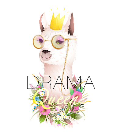 Lama Drama Queen Cool T Shirt Design with Quote