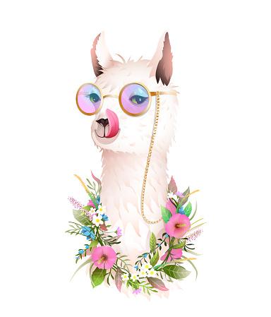Lama Showing Tongue, Fun Sunglasses Flowers Animal