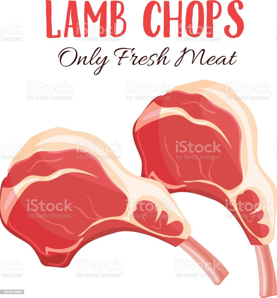 Lamb chop vector illustration in cartoon style vector art illustration