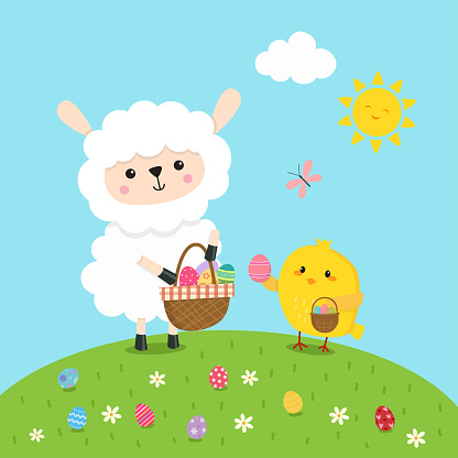 Lamb collecting Easter Eggs
