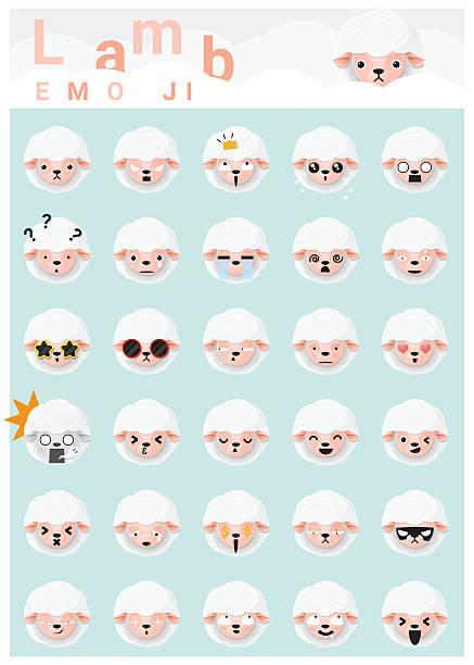 Lamb emoji icons - Illustration vectorielle