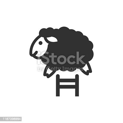 lamb jumps over the fence. monochrome icon