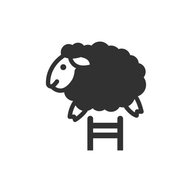 lamb jumps over the fence lamb jumps over the fence. monochrome icon counting stock illustrations