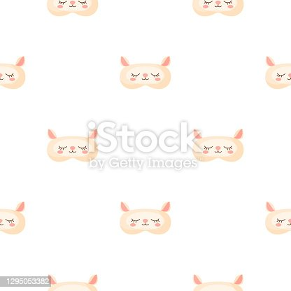 istock Lamb light pink color geometric seamless pattern on white background. Children graphic design element for different purposes. 1295053382