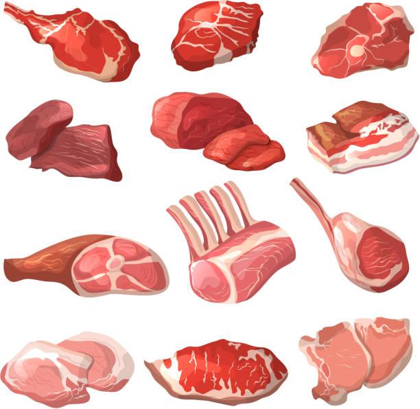 bildbanksillustrationer, clip art samt tecknat material och ikoner med lamm, griskött nötkött och annat kött bilder i tecknad stil - loin