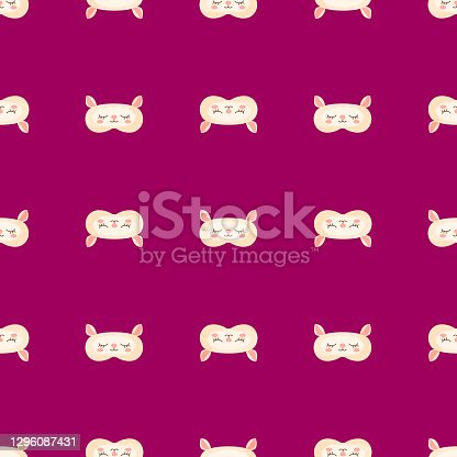 istock Lamb yellow color geometric seamless pattern on pink background. Children graphic design element for different purposes. 1296087431