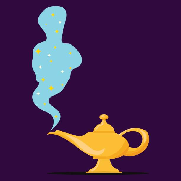 Lamp Aladdin with gin, the magic lamp of Aladdin vector art illustration