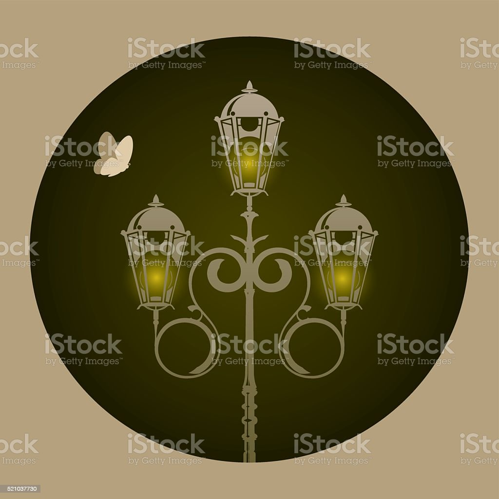 Lamp and batterfly vector art illustration