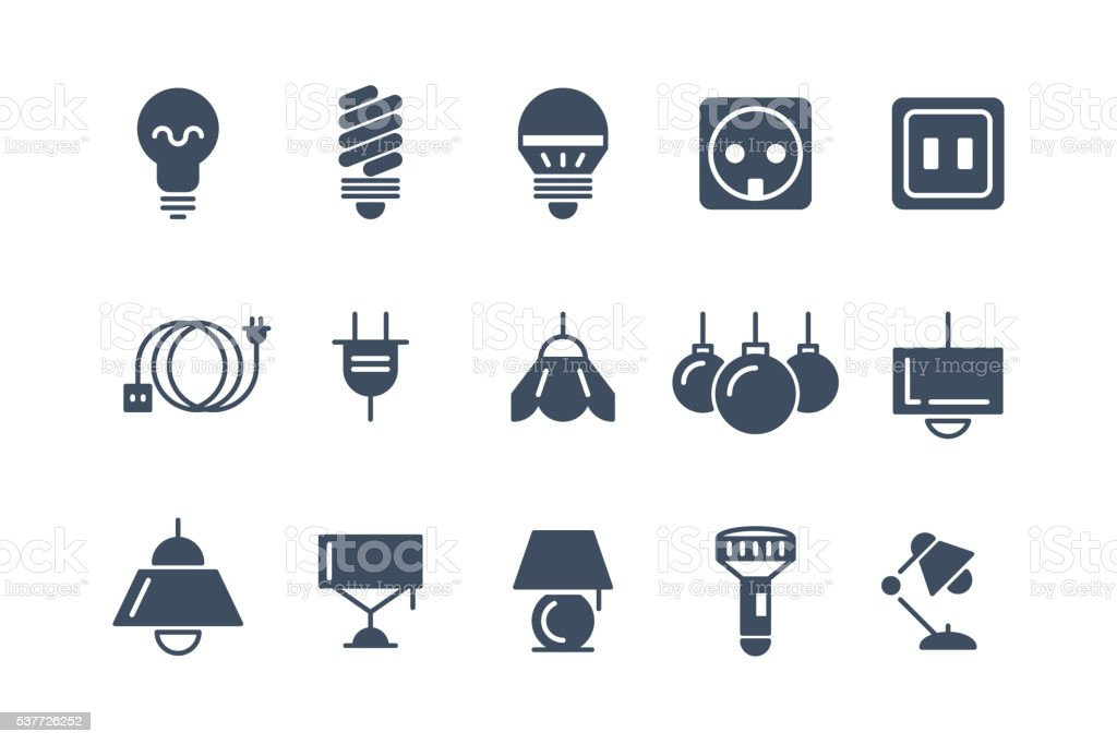 Lamp And Bulbs Black Vector Icons Set Electrical Symbols Stock