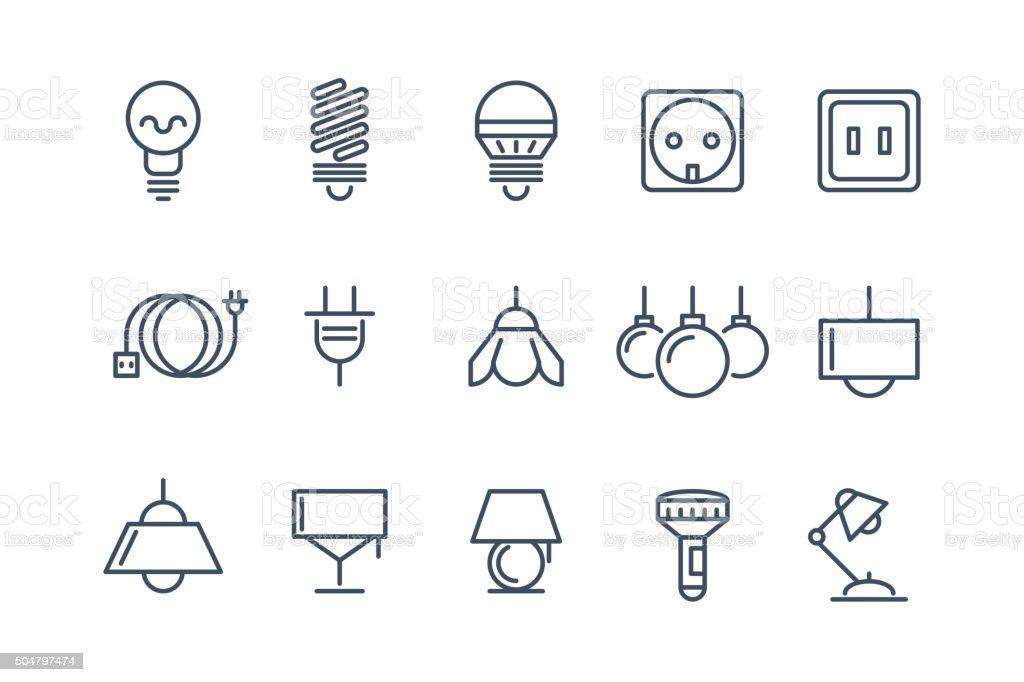 Lampen Und Glühbirnen Linie Vektoricons Set Elektrische Symbole ...