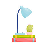 Lamp and cactus on pile of books. Education concept. Vector illustration.