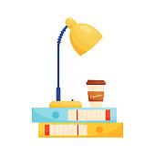 Lamp and coffee cup on file folders. Education concept. Vector illustration.