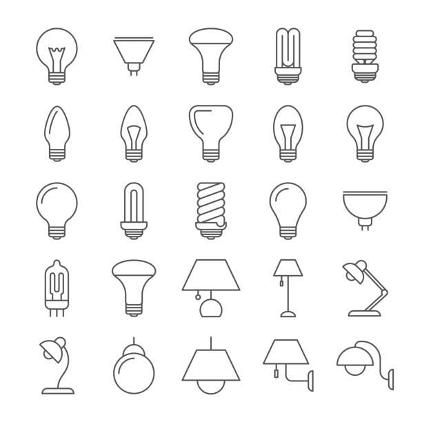 lamba ve ampuller satır icons collection - elektrik lambası stock illustrations