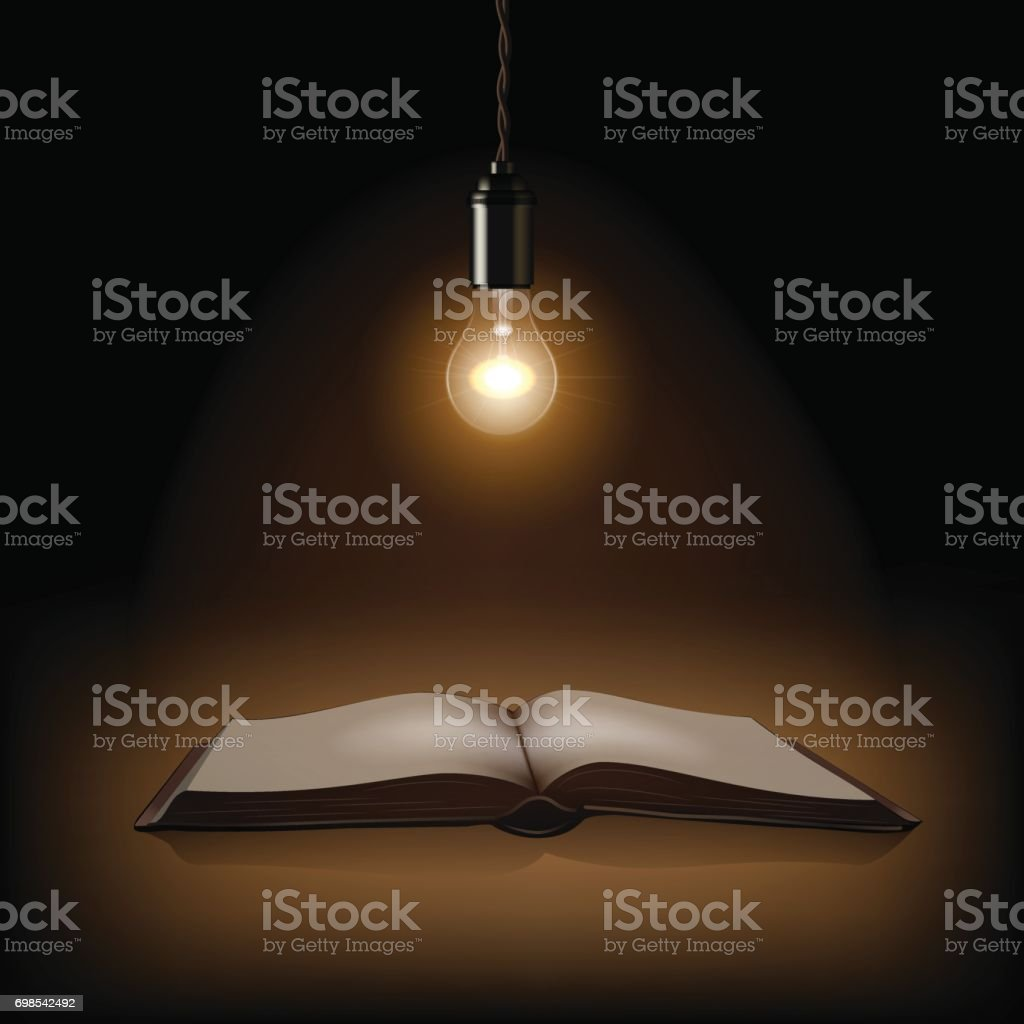 Lamp and opened book on dark background. Vector illustration. vector art illustration