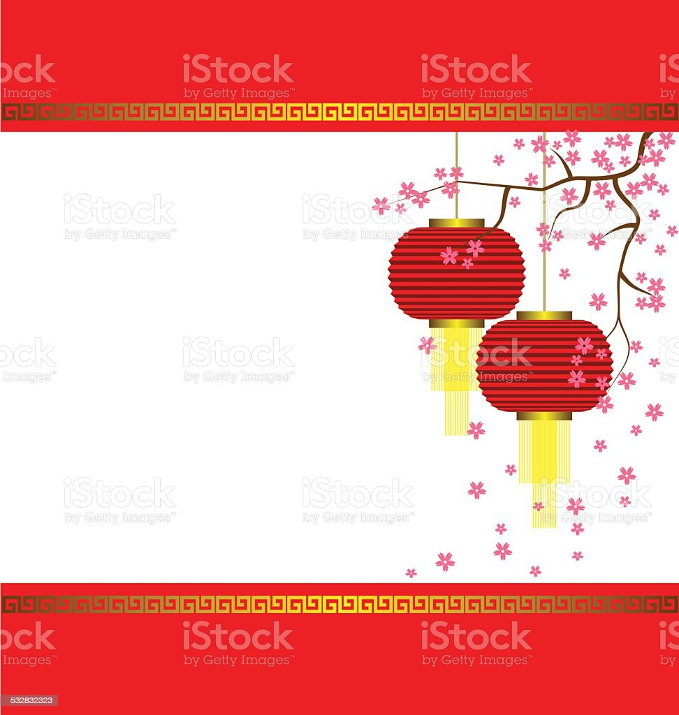Lamp And Sakura On Chinese New Year Background Royalty Free
