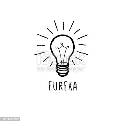 Lamp bulb isolated over white background with handwritten lettering. Great idea icon concept. Doodle line hand drawn sketch illustration
