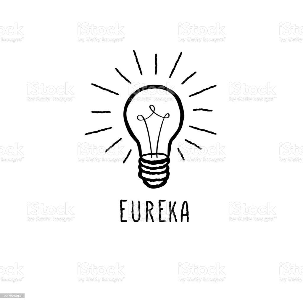 Lámpara bombilla aislado sobre fondo blanco con letras manuscritas. Concepto de icono de gran idea. Boceto de línea de Doodle - ilustración de arte vectorial