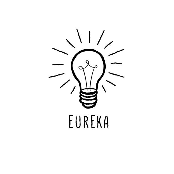 Lamp bulb isolated over white background with handwritten lettering. Great idea icon concept. Doodle line  sketch vector art illustration