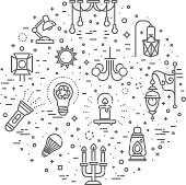 Lamp flat Icon Set