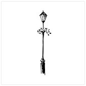 Lamp. Hand drawn in sketch style street lamp. Flowerbed on a pillar. Isolated on a white background. Vector illustration.