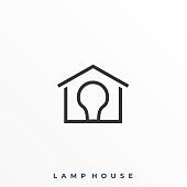 Lamp House Illustration Vector Template. Suitable for Creative Industry, Multimedia, entertainment, Educations, Shop, and any related business.