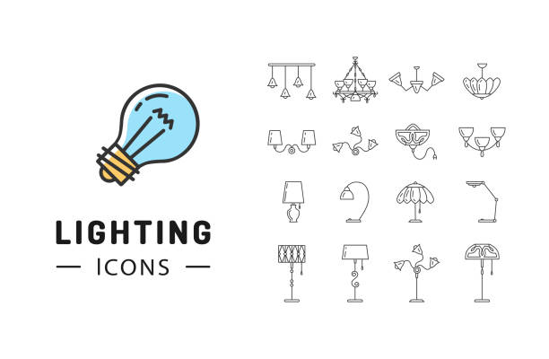 Lamp icon set, Lighting store flat design, Brand identity graphics Lamp icon set, lighting store flat design. Thin line symbols chandelier, lampshade, decorative lightings, wall lamp. Brand identity graphics, business concept. Vector isolated black icons interior designer stock illustrations