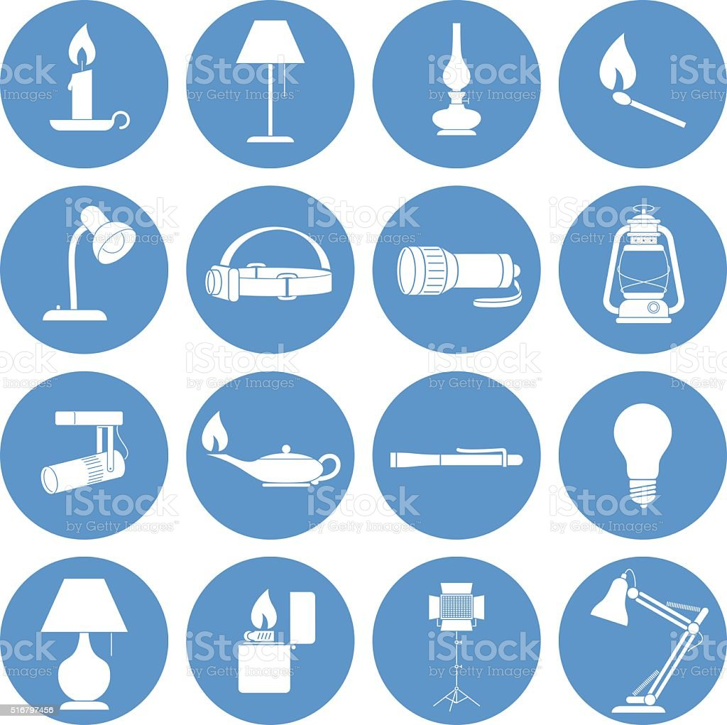 Lamp Icons Set vector art illustration