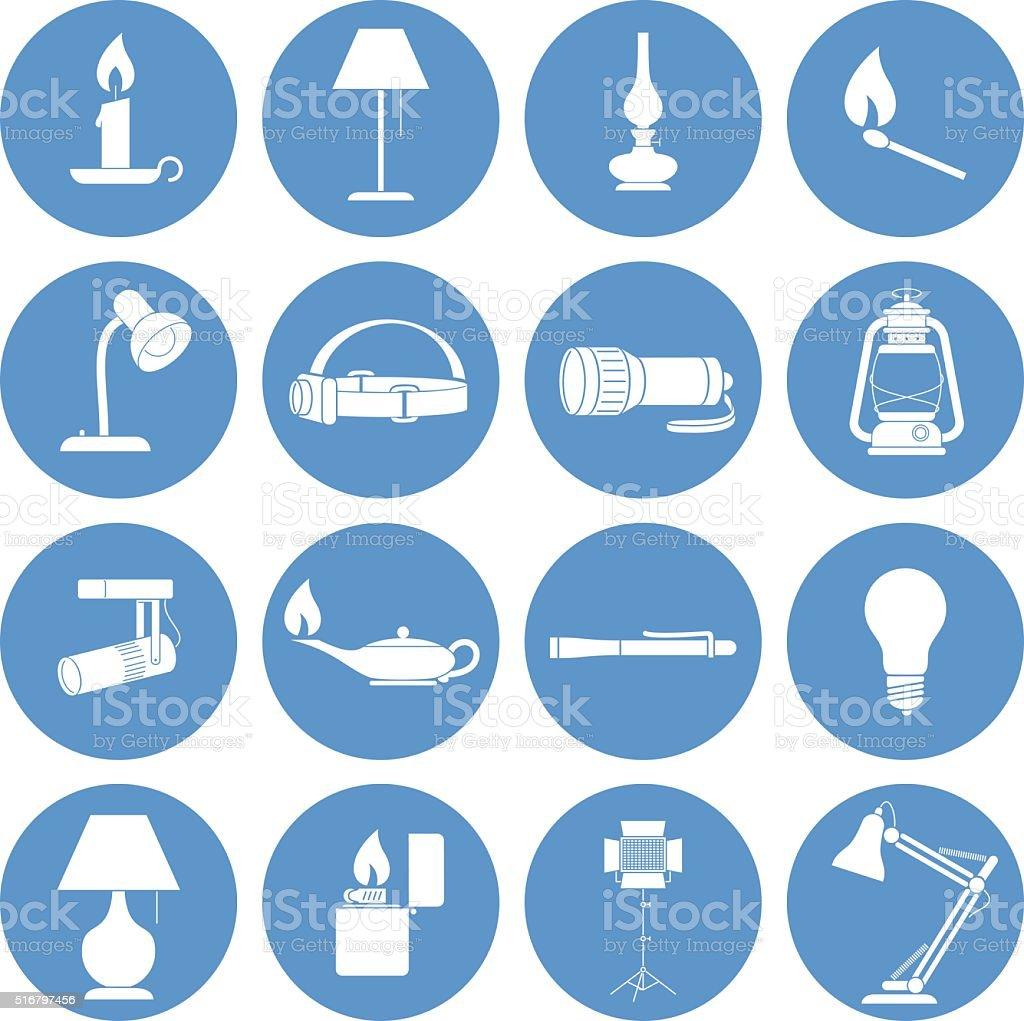 Lamp Icons Set vector art illustration